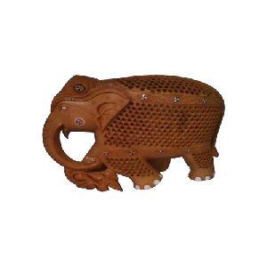 Wooden Jali Boll Elephant Statue