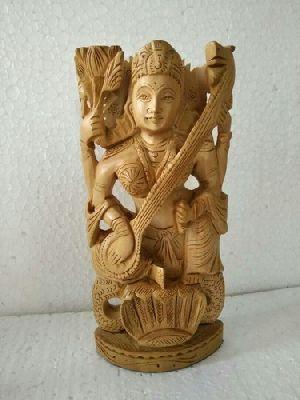 Wooden Saraswati Statue