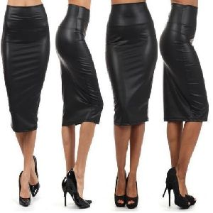 Ladies Leather Black Skirt Without Zip
