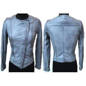 Ladies Leather Light Blue Jackets