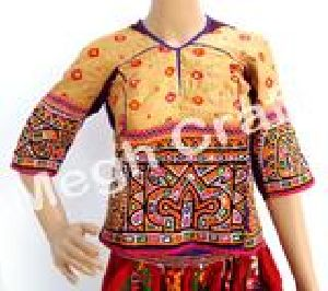 Vintage Kutch Embroidered Silk Bandhej Blouse Top