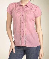 Ladies Stripe Shirt With Cotton Lace