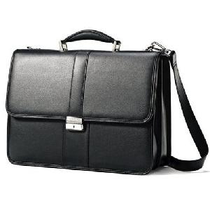 Shiny Black Leather Executive Bag