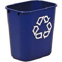 Rubbermaid 2955-73 Small Deskside Recycling Container With Symbol, Blu