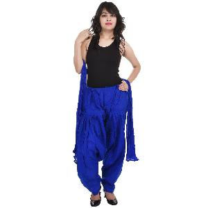 Cotton Plain Blue Patiala Salwar