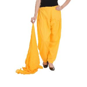 Cotton Plain Yellow Patiala Salwar