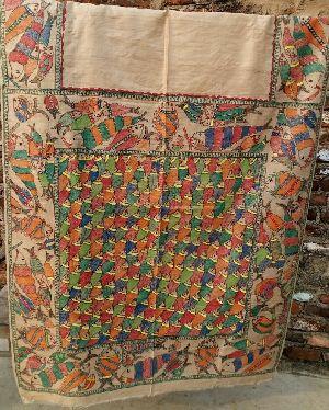 Madhubani Painted Saree On Tassur Silk