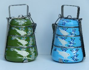 Enamel Hand Painted 3 Tier Tiffin Box