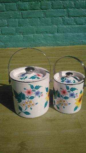 Enamel Hand Painted Ice Bucket Set