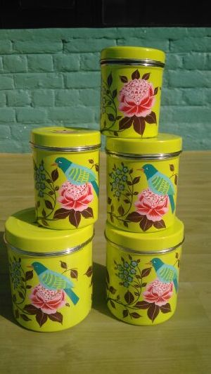 Hand Painted Metalware Canister Set