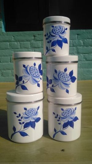 Hand Painted Metalware Spice Canister Set