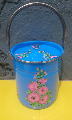Hand Painted Metalware Milk Pot
