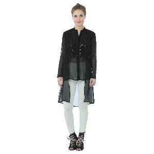 Black Sequins Georgette Long Top