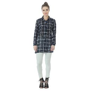 BLUE CHECK GEORGETTE LONG SHIRT