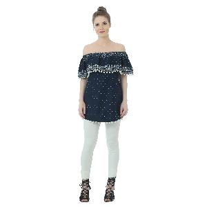 Blue Off Shoulder Cotton Top