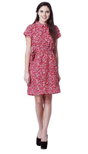 FLORAL PRINT CREPE RED SHORT DRESS