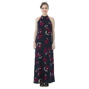 FLORAL PRINTED RAYON BLUE LONG DRESS