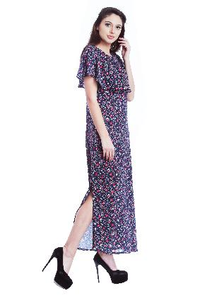 Floral Rayon Blue Beach Long Dress