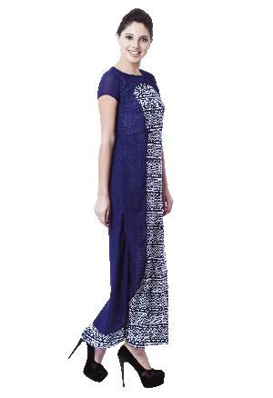 Layered Georgette Printed Blue Long Dress