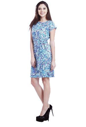 Printed Blue Cotton Satin Short Dress