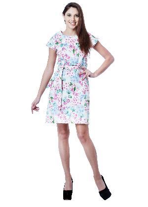 PRINTED CREAM COTTON SATIN SHORT DRESS
