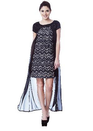 PRINTED GEORGETTE BLACK LONG DRESS
