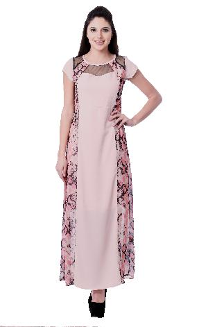 PRINTED PEACH GEORGETTE LONG DRESS