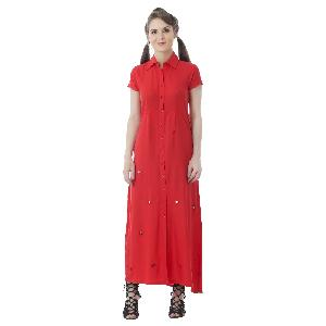 RAYON RED LONG DRESS WITH MIRROR WORK