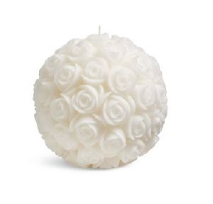 White Rose Ball Candle
