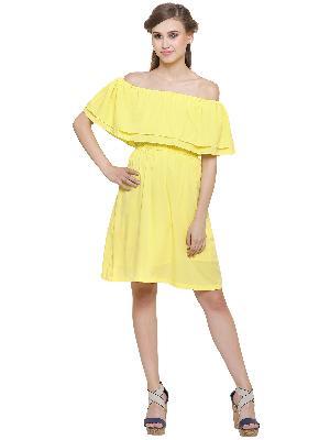 Off Shoulder Knee Length Dress