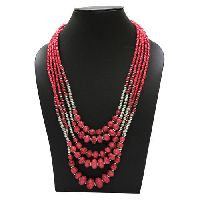 Red Beaded Chain Necklace