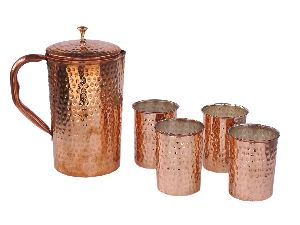 Copper Jug & Glass Set