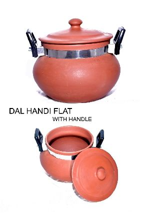 Clay Flat Bottom Dal Handi With Handle