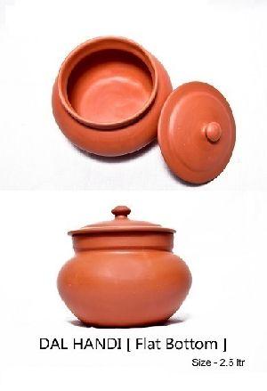 Clay Flat Bottom Dal Handi Without Handle