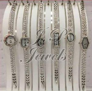 Silver Ladies CZ Fancy Watches