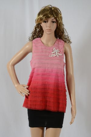 Ladies Chiffon Ruffle Top With Beaded Brooch