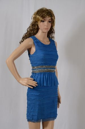 Ladies Chiffon Tiered Dress With Chain Work On The Belt