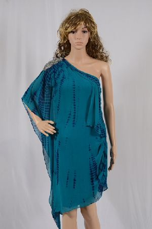 Ladies Tie And Dye Georgette One Shoulder Kaftan Dress