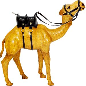 Leather Animal Camel Standing Statue - 3074
