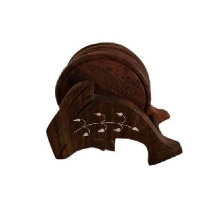 Brown Wooden Tea Coaster Set