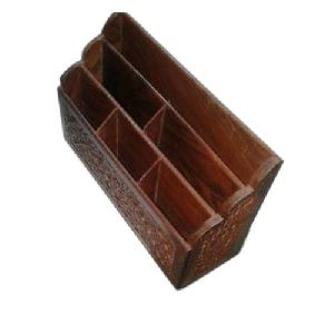 Brown Wooden Utensil Holder