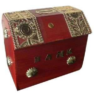 Wooden Hut Shaped Money Bank