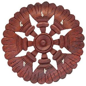 Wooden Round Wall Key Holder