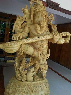 Ganapati Wooden Statue