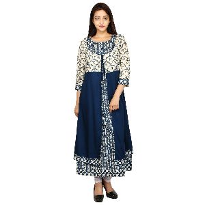 Ethnic Cotton A-line Kurti With Long Jacket
