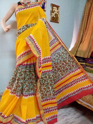 Kerala Cotton Hand Block Printed Sarees