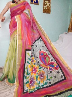 Kerala Cotton Hand Painted Saree With Blouse