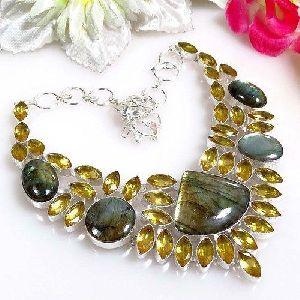 Grey Gemstone Beaded Necklace