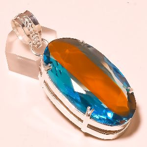 Multi Colors Gemstone .925 Plated Silver Pendant Jewelry