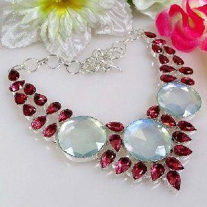 White Gemstone Beaded Necklace